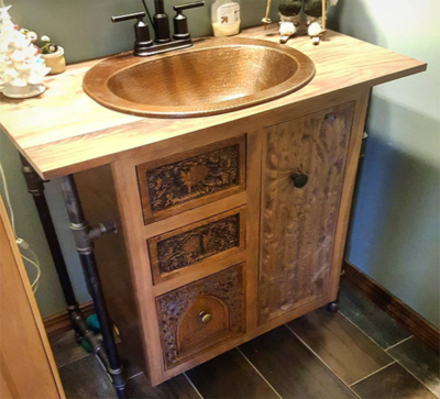 Coppersmith Customs | Carved Bathroom Vanity